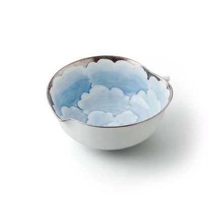 プラチナ牡丹(ブルー)りんご鉢【大】