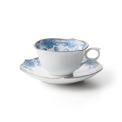 プラチナローゼ(ブルー) −輪花− カップ&ソーサー