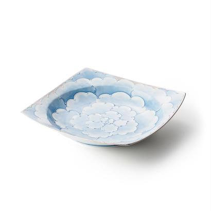 プラチナ牡丹(ブルー)リム皿