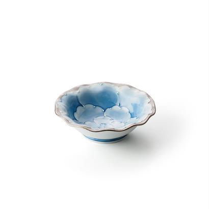 プラチナ牡丹(ブルー)4寸深皿