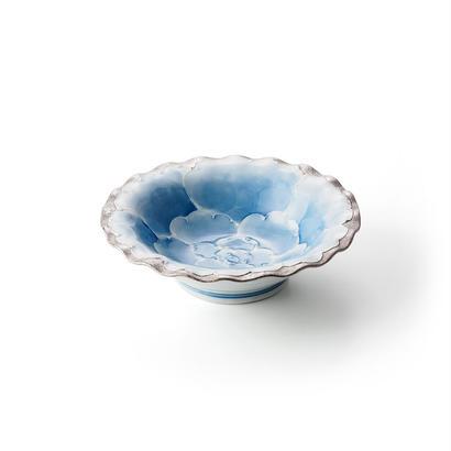 プラチナ牡丹(ブルー)5寸深皿