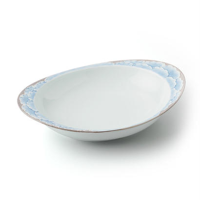 プラチナ牡丹(ブルー)−極上のカレー皿【大】−