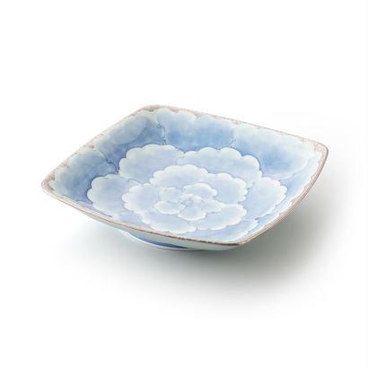 プラチナ牡丹(ブルー)四方皿