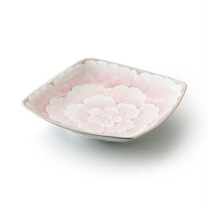 プラチナ牡丹(ピンク)四方皿