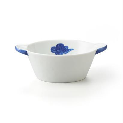 古染雲 丸耳楕円小鉢