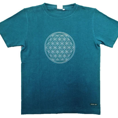 【Tシャツ】フラワー・オブ・ライフ1 麻生地 グリーン 姫川薬石インク
