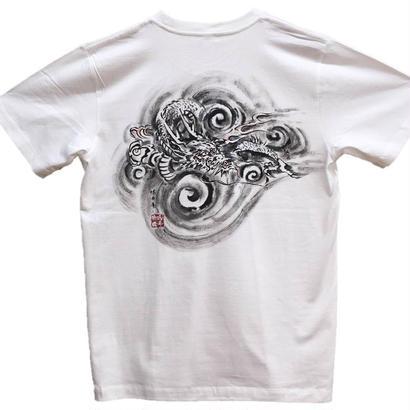 【手描きTシャツ】龍5 白 コットン生地