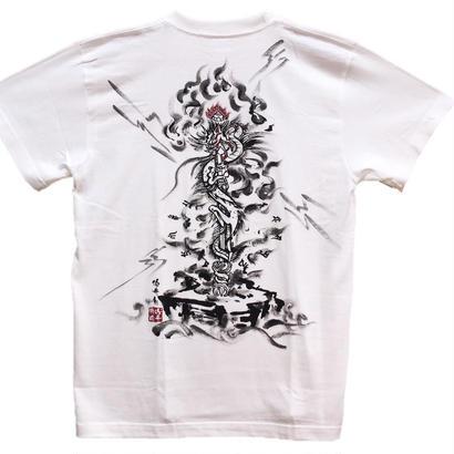 【手描きTシャツ】俱利伽羅不動  白  綿生地