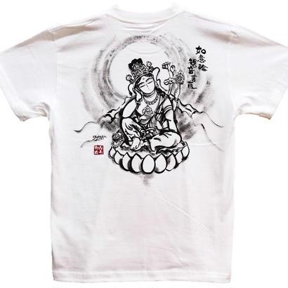 【手描きTシャツ】如意輪観音 白 綿生地