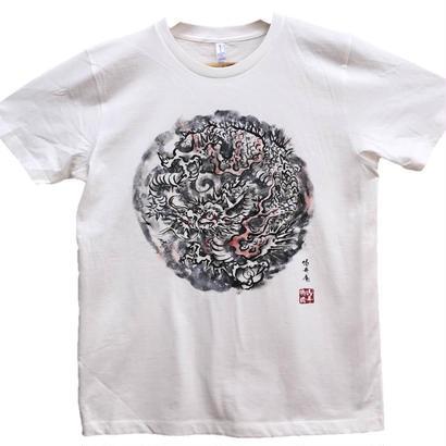 【手描きTシャツ】龍4 白 コットン生地
