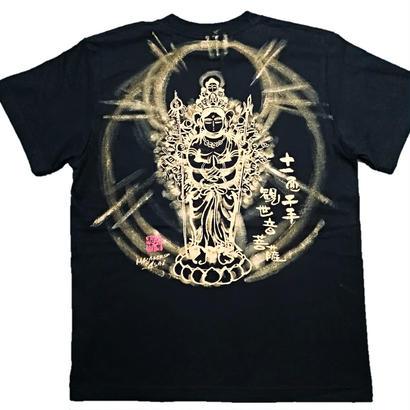 【手描きTシャツ】十一面千手観音 黒 綿生地