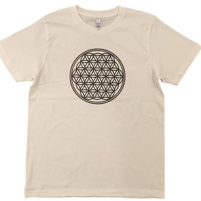 【Tシャツ】フラワー・オブ・ライフ1 コットン生地 麻炭インク100%