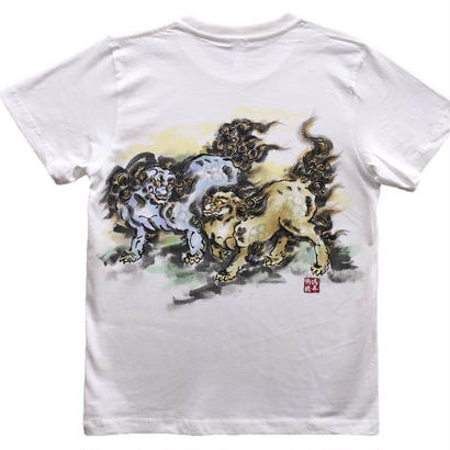 【ディスカウント】に獅子 白 彩色 Mサイズ