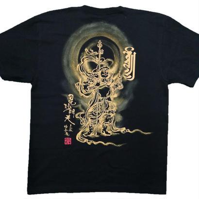 【手描きTシャツ】毘沙門天 黒 綿生地
