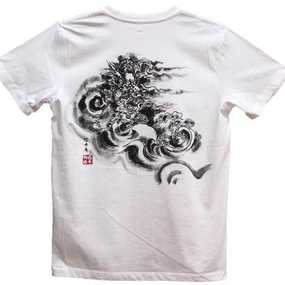 【手描きTシャツ】龍3 白 コットン生地