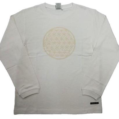 【ロングTシャツ】フラワー・オブ・ライフ1 麻生地 姫川薬石インク100% 生地色クリーム