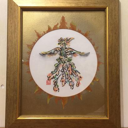 【手描き アート 原画】鳳凰 31.5cm × 26.5cm×1.5