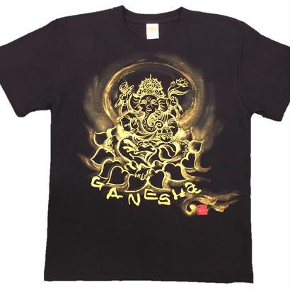 【手描きTシャツ】ガネーシャ イラスト前面  黒  綿生地