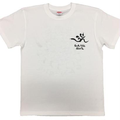 【手描きTシャツ】ガネーシャ イラスト背面  白  綿生地