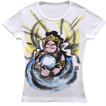 【手描きTシャツ】観音の心 彩色   レディース