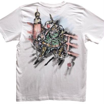【手描きTシャツ】牛若丸と弁慶 白 彩色 コットン生地
