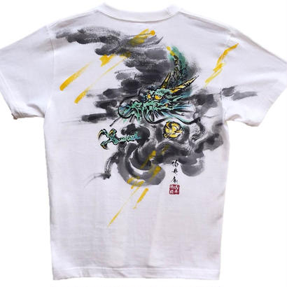 【手描きTシャツ】龍1 白 彩色 コットン生地