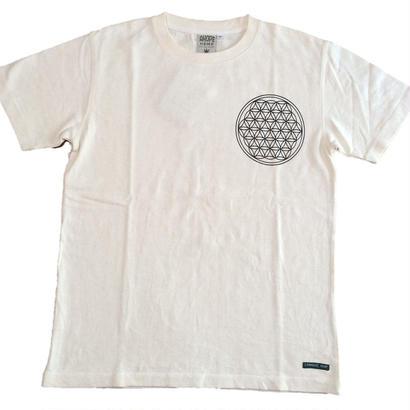 【Tシャツ】フラワー・オブ・ライフ3 麻生地 麻炭インク100%