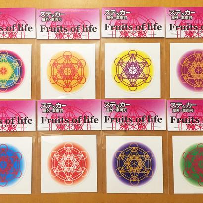 フルーツオブライフ ステッカー小 全8種 8枚セット (虹・オレンジ・黄色・紫・青・赤・藍・緑)