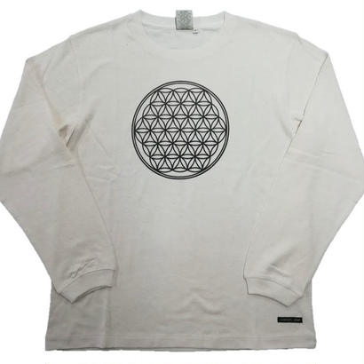 【ロングTシャツ】フラワー・オブ・ライフ1 麻生地 麻炭インク100% 生地色クリーム