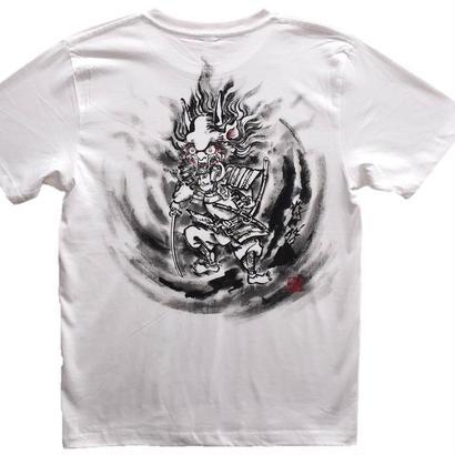 【手描きTシャツ】酒呑童子 白 コットン生地