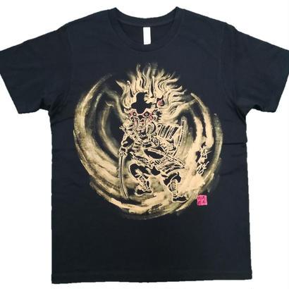 【手描きTシャツ】酒呑童子 黒 コットン生地