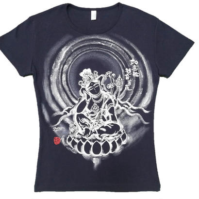 【手描きTシャツ】如意輪観音 紺  レディース