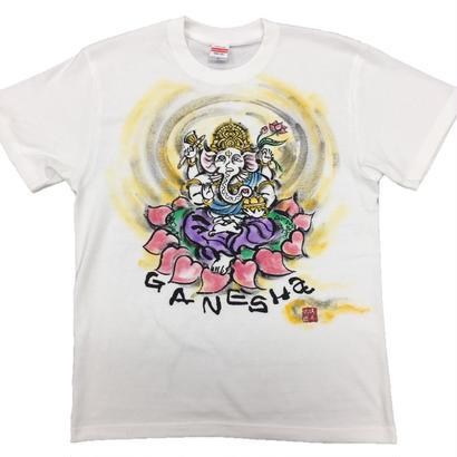 【手描きTシャツ】ガネーシャ イラスト前面  白  彩色 綿生地