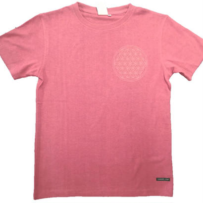 【Tシャツ】フラワー・オブ・ライフ3 麻生地 レッド 姫川薬石インク