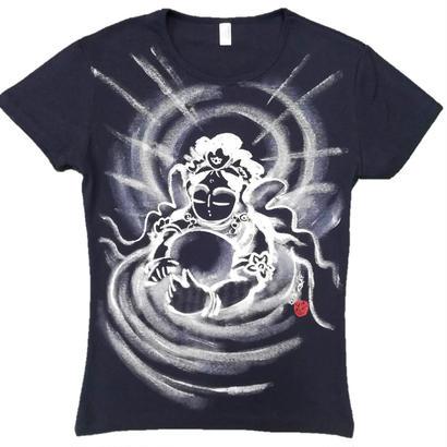 【手描きTシャツ】観音の心 紺  レディース