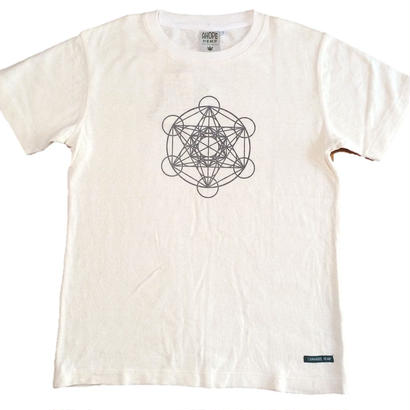 【Tシャツ】フラワー・オブ・ライフ4 麻生地 麻炭インク100%