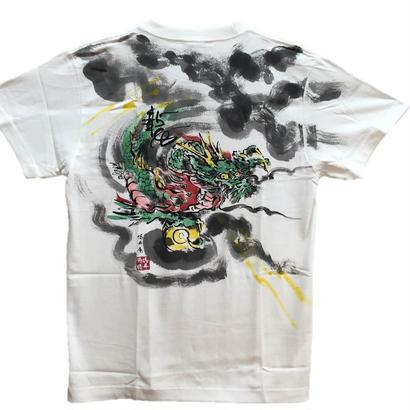 【手描きTシャツ】龍2 白 彩色 コットン生地