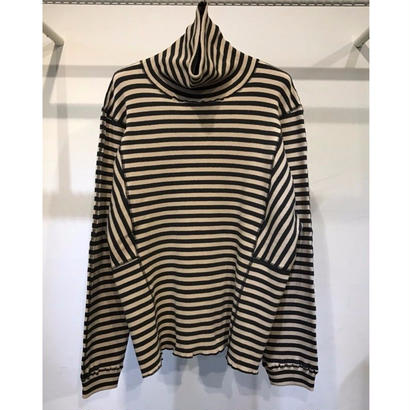 C/PU STRECH RIB BORDER TURTLE-NECK L/SLEEVE TEE