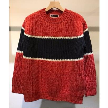 LOW GAUGE TRICOLOR CREW NECK KNIT