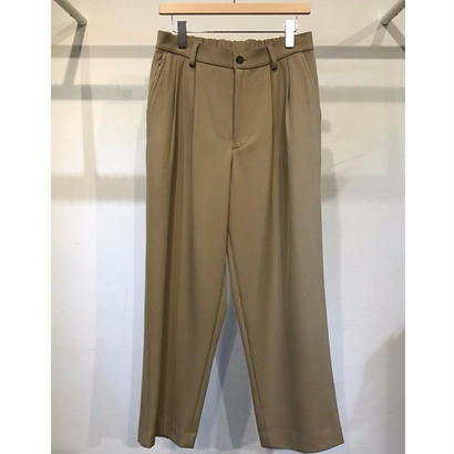 WOOL BACK SATIN TWILL WIDE TROUSERS