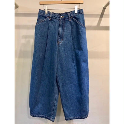12OZ  DENIM  EASY  CROPED WIDE  PANTS (BIO WASH)