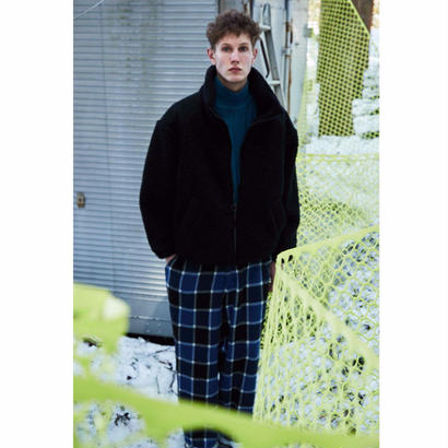 WOOL  FLANNEL  BLOCK CHECK  EASY  WIDE  PANTS