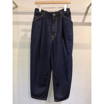 12OZ  DENIM  EASY  CROPED WIDE  PANTS (ONE WASH)