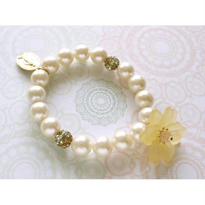 フランス不思議メダイ&お花のブレスレットmb1908