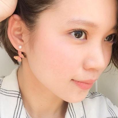 桜色の蝶 ピアス / イヤリング (パール)