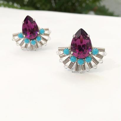 Peacock earring in purple