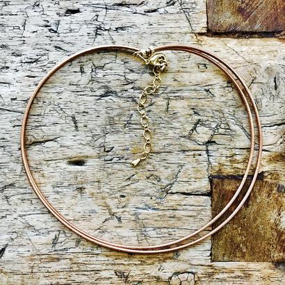 ブロンズカラー革丸紐2連ネックレス