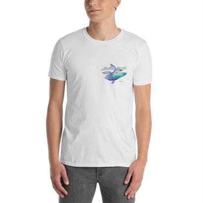 オリジナルデザインの空飛ぶクジラTシャツ/ Whale rider T-shirt  のコピー