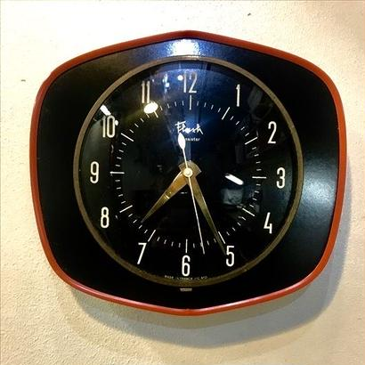 Vintage French Formica wall clock / Black/Orange