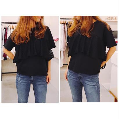 チュールフリルTシャツ[BLACK]